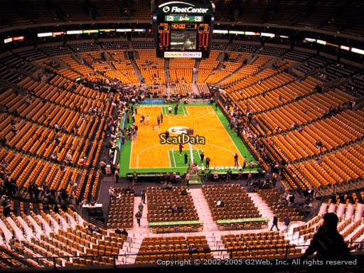 Seat view from section 324 at the TD Garden, home of the Boston Celtics.