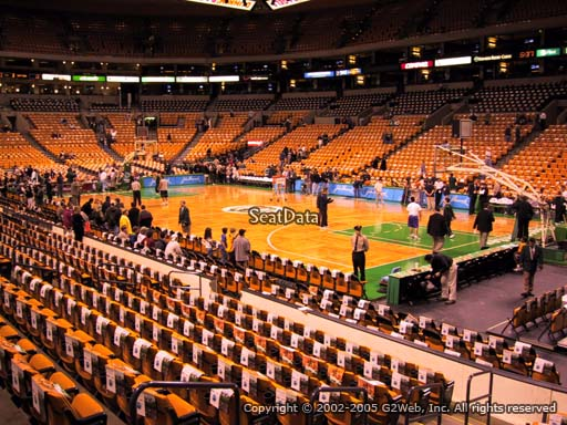 Seat view from section 9 at the TD Garden, home of the Boston Celtics.