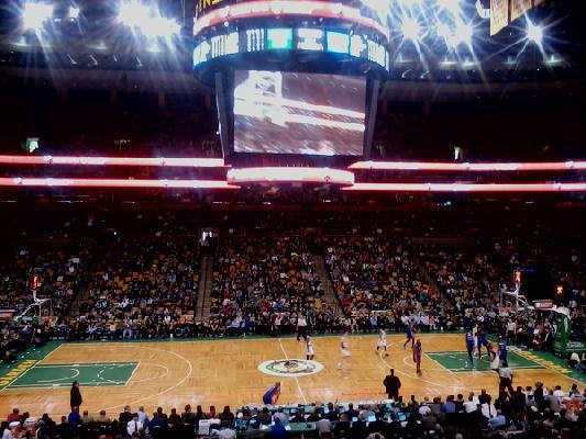 View from Club Section 111 at TD Banknorth Garden, home of the Boston Celtics