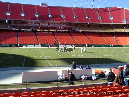Seat view from section 101 at Arrowhead Stadium, home of the Kansas City Chiefs