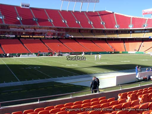 Seat view from section 102 at Arrowhead Stadium, home of the Kansas City Chiefs