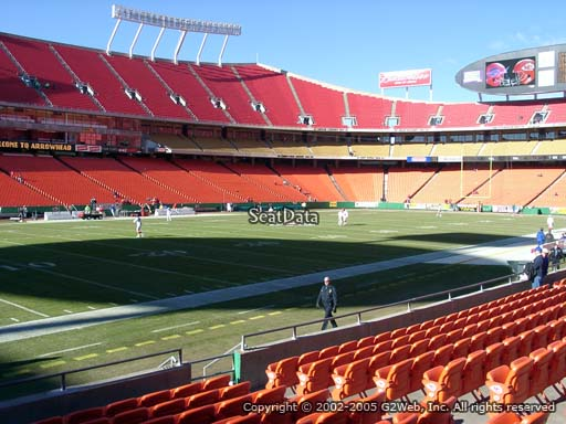 Seat view from section 104 at Arrowhead Stadium, home of the Kansas City Chiefs