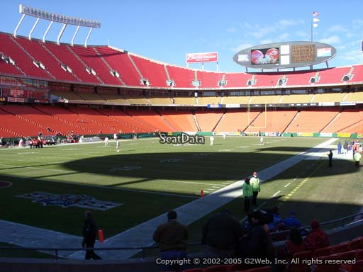 Seat view from section 106 at Arrowhead Stadium, home of the Kansas City Chiefs