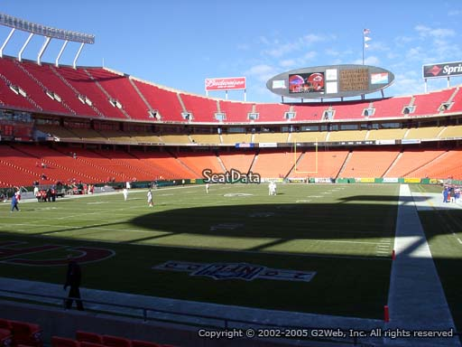 Seat view from section 107 at Arrowhead Stadium, home of the Kansas City Chiefs