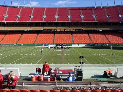 Seat view from section 118 at Arrowhead Stadium, home of the Kansas City Chiefs