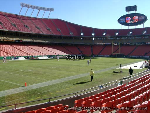 Seat view from section 123 at Arrowhead Stadium, home of the Kansas City Chiefs