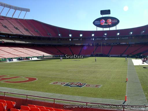 Seat view from section 125 at Arrowhead Stadium, home of the Kansas City Chiefs