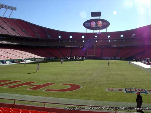 Seat view from section 126 at Arrowhead Stadium, home of the Kansas City Chiefs