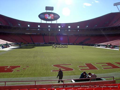 Seat view from section 128 at Arrowhead Stadium, home of the Kansas City Chiefs