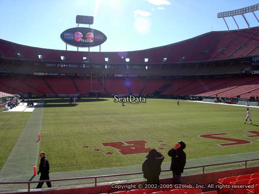 Seat view from section 129 at Arrowhead Stadium, home of the Kansas City Chiefs