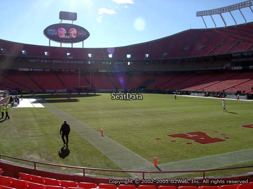 Seat view from section 130 at Arrowhead Stadium, home of the Kansas City Chiefs