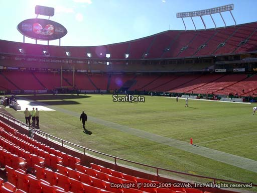 Seat view from section 131 at Arrowhead Stadium, home of the Kansas City Chiefs