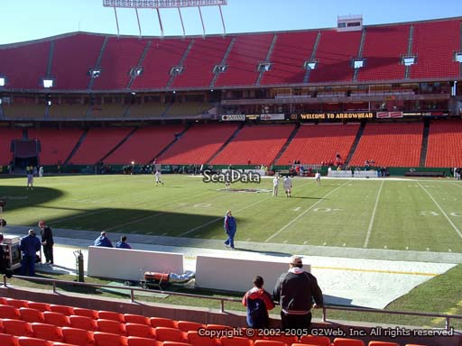 Seat view from section 135 at Arrowhead Stadium, home of the Kansas City Chiefs