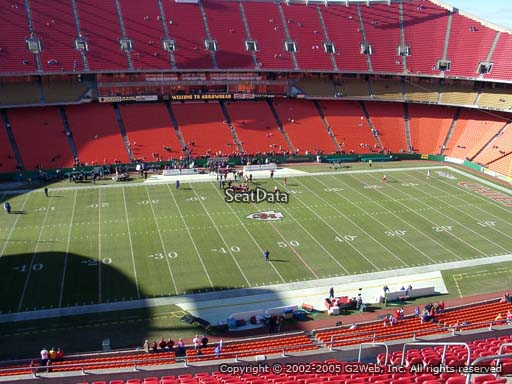 Seat view from section 302 at Arrowhead Stadium, home of the Kansas City Chiefs