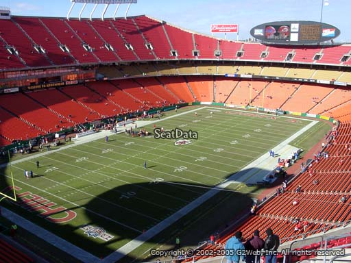 Seat view from section 307 at Arrowhead Stadium, home of the Kansas City Chiefs