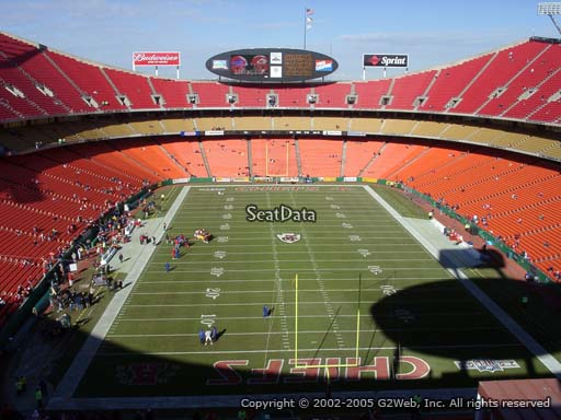 Seat view from section 312 at Arrowhead Stadium, home of the Kansas City Chiefs