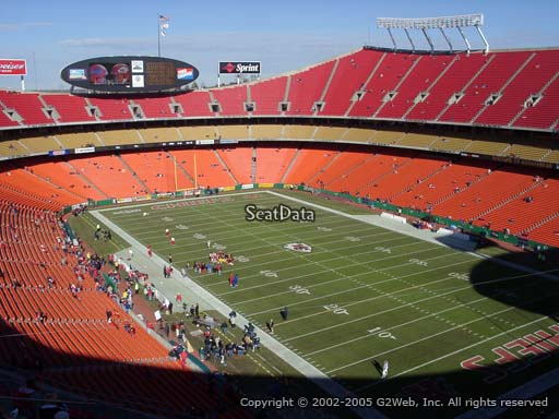 Seat view from section 316 at Arrowhead Stadium, home of the Kansas City Chiefs