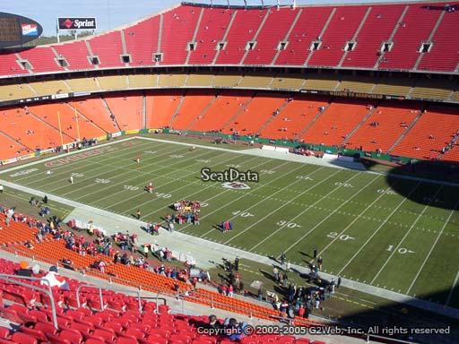 Seat view from section 319 at Arrowhead Stadium, home of the Kansas City Chiefs