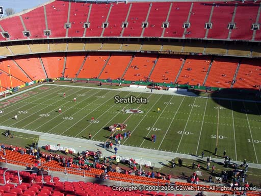 Seat view from section 321 at Arrowhead Stadium, home of the Kansas City Chiefs