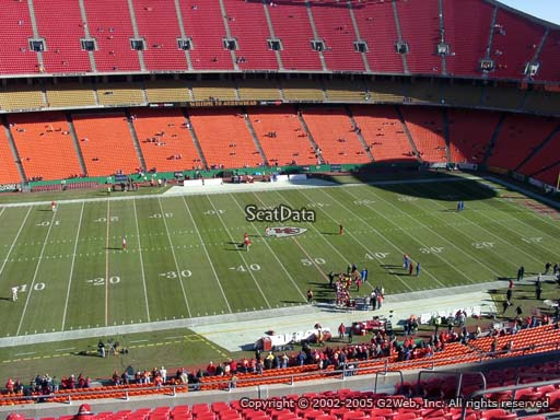 Seat view from section 325 at Arrowhead Stadium, home of the Kansas City Chiefs