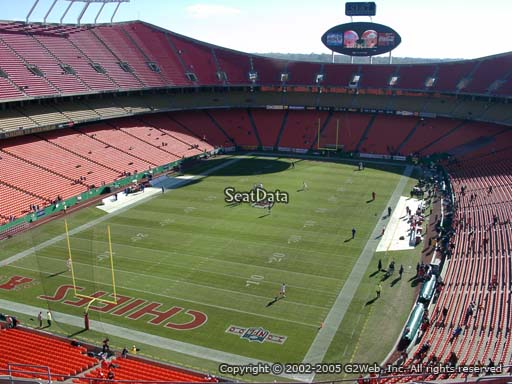 Seat view from section 332 at Arrowhead Stadium, home of the Kansas City Chiefs