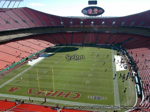 Seat view from section 333 at Arrowhead Stadium, home of the Kansas City Chiefs