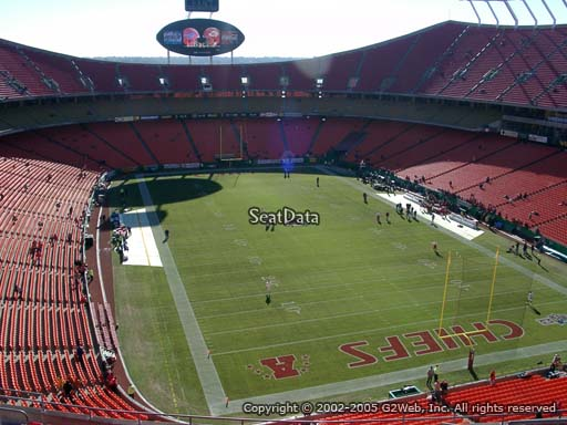 Seat view from section 337 at Arrowhead Stadium, home of the Kansas City Chiefs