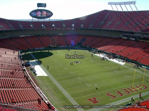 Seat view from section 338 at Arrowhead Stadium, home of the Kansas City Chiefs