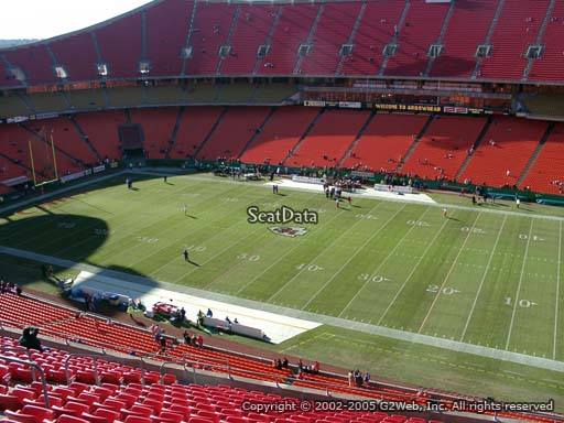 Seat view from section 343 at Arrowhead Stadium, home of the Kansas City Chiefs