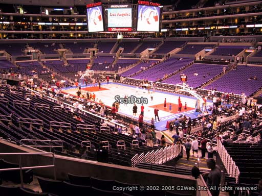 Seat view from premier section 1 at the Staples Center, home of the Los Angeles Clippers