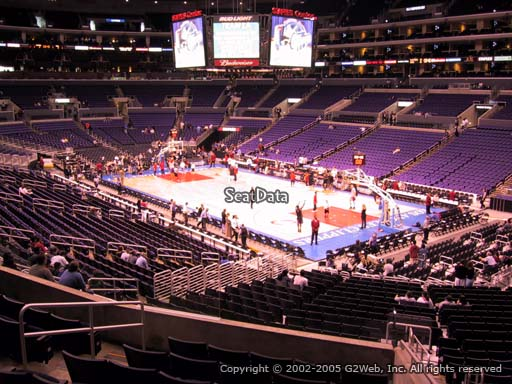 Seat view from premier section 10 at the Staples Center, home of the Los Angeles Clippers