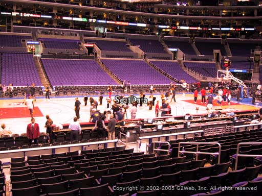 Seat view from section 102 at the Staples Center, home of the Los Angeles Clippers