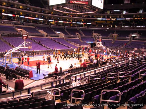 Seat view from section 104 at the Staples Center, home of the Los Angeles Clippers