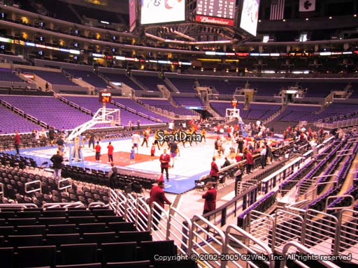 Seat view from section 105 at the Staples Center, home of the Los Angeles Clippers