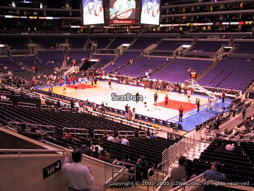 Seat view from premier section 11 at the Staples Center, home of the Los Angeles Clippers