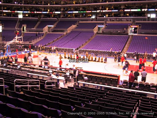 Seat view from section 119 at the Staples Center, home of the Los Angeles Clippers
