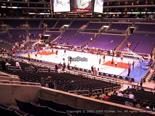 Seat view from premier section 12 at the Staples Center, home of the Los Angeles Clippers