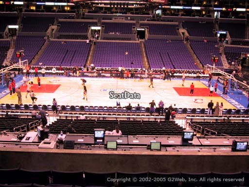Seat view from premier section 14 at the Staples Center, home of the Los Angeles Clippers