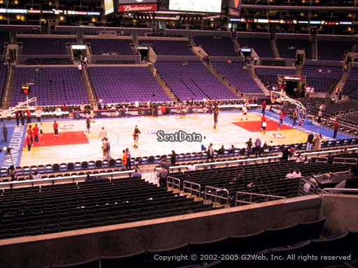Seat view from premier section 15 at the Staples Center, home of the Los Angeles Clippers