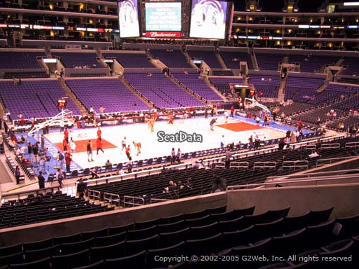 Seat view from premier section 16 at the Staples Center, home of the Los Angeles Clippers
