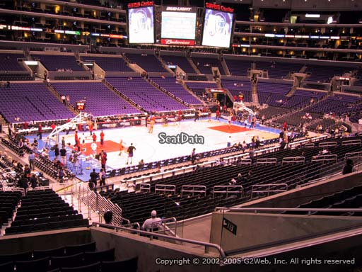 Seat view from premier section 17 at the Staples Center, home of the Los Angeles Clippers