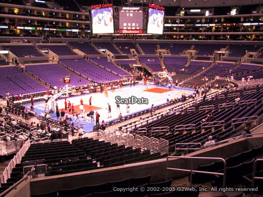 Seat view from premier section 18 at the Staples Center, home of the Los Angeles Clippers