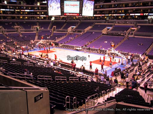 Seat view from premier section 2 at the Staples Center, home of the Los Angeles Clippers