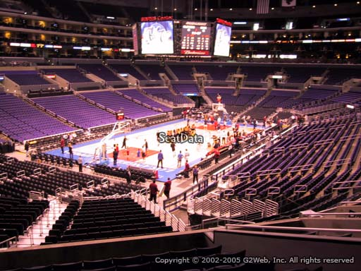 Seat view from section 205 at the Staples Center, home of the Los Angeles Lakers