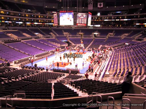 Seat view from section 206 at the Staples Center, home of the Los Angeles Lakers