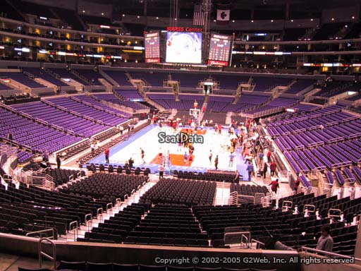 Seat view from section 207 at the Staples Center, home of the Los Angeles Clippers