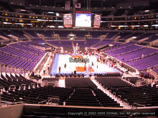 Seat view from section 208 at the Staples Center, home of the Los Angeles Lakers
