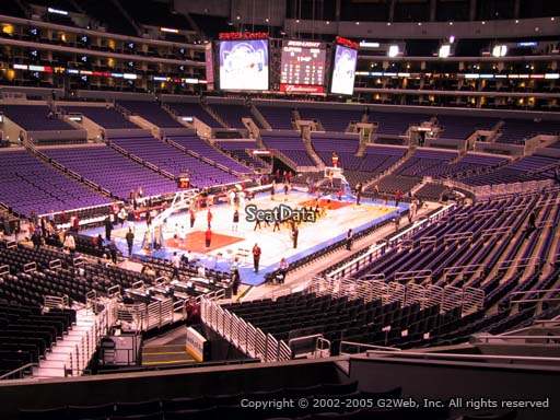 Seat view from section 214 at the Staples Center, home of the Los Angeles Lakers