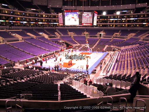 Seat view from section 215 at the Staples Center, home of the Los Angeles Clippers