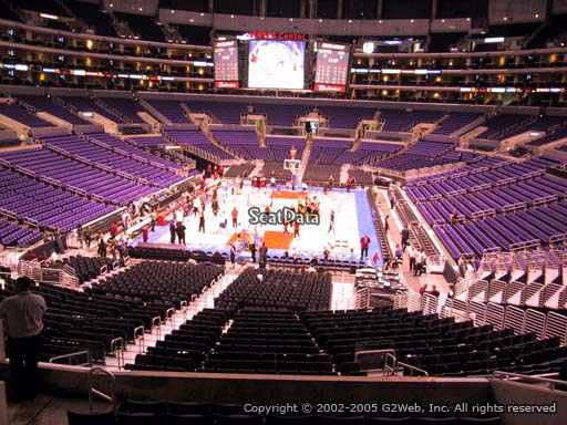 Seat view from section 216 at the Staples Center, home of the Los Angeles Lakers